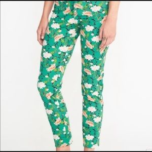 Old Navy Jeans - Old Navy Green Floral Pixie Jeans